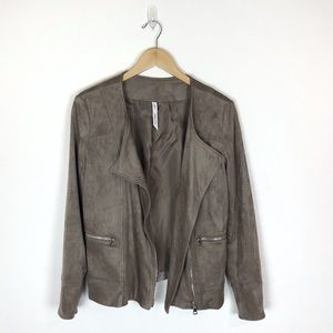 NY Collection Faux Suede Moto Jacket Small
